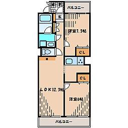 ワコーレ柿生[2階]の間取り