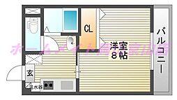 岡山県岡山市北区津島本町の賃貸アパートの間取り
