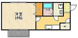 滋賀県大津市大将軍3丁目の賃貸アパートの間取り