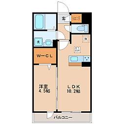 仙台市営南北線 五橋駅 徒歩10分の賃貸アパート 1階1LDKの間取り