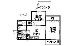 ハイツ糀屋I[2-A号室]の間取り