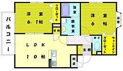 福岡県福津市宮司浜2丁目の賃貸アパートの間取り