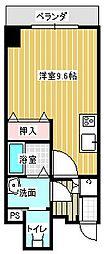 名古屋市営東山線 本山駅 徒歩6分の賃貸マンション 2階ワンルームの間取り
