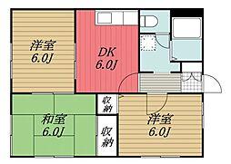 千葉県四街道市物井の賃貸アパートの間取り