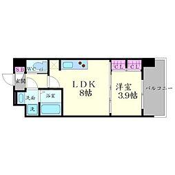レジディア千里藤白台 2階1LDKの間取り