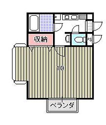 京都府京都市北区紫竹下緑町の賃貸マンションの間取り