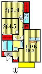 イーグレット D棟[1階]の間取り