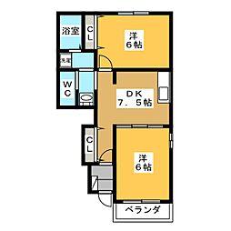 静岡県静岡市葵区与一4の賃貸アパートの間取り
