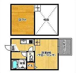 福岡県福岡市早良区原3丁目の賃貸アパートの間取り