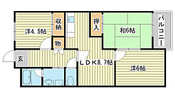 カサ・ディ・フォーレ[402号室]の間取り