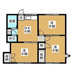 エクセル西の平B[1階]の間取り