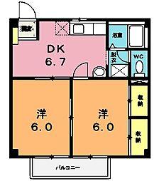 埼玉県北本市北本4の賃貸アパートの間取り