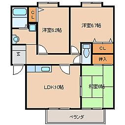 フォブール牟田山[A202号室]の間取り