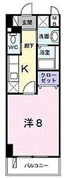 クレセント きららII802号室宜野湾市大山3ー4−33 8階1Kの間取り