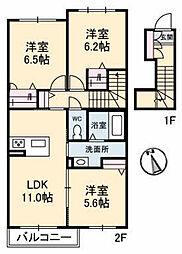 広島県広島市安佐北区落合5丁目の賃貸アパートの間取り