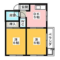 ムーニー木村[1階]の間取り