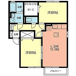 神奈川県相模原市中央区上矢部3丁目の賃貸アパートの間取り