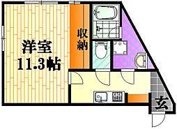 ルシェルメゾン牛田早稲田 2階1Kの間取り