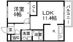 兵庫県宝塚市仁川北2丁目の賃貸アパートの間取り