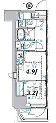 東京メトロ南北線 本駒込駅 徒歩8分の賃貸マンション 2階1DKの間取り