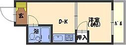 ウッディR ONE 2階1DKの間取り