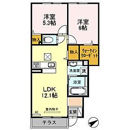 兵庫県姫路市中地南町の賃貸アパートの間取り