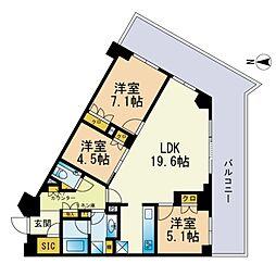 ザ・パークハウス福岡タワーズEAST 10階3LDKの間取り