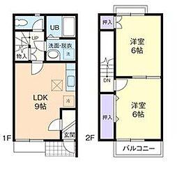 [テラスハウス] 神奈川県厚木市林3丁目 の賃貸【神奈川県 / 厚木市】の間取り