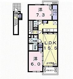 養老鉄道 美濃青柳駅 徒歩13分の賃貸アパート 2階2LDKの間取り