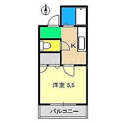コーポあゆみII[4階]の間取り