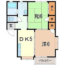 静岡県田方郡函南町大土肥174丁目の賃貸アパートの間取り