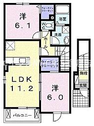 岡山県倉敷市真備町有井の賃貸アパートの間取り