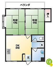 松田アパート 4階2DKの間取り