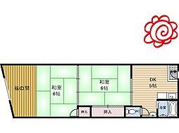 河合マンション 3階2DKの間取り