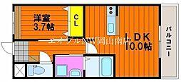 JR赤穂線 西大寺駅 徒歩7分の賃貸アパート 1階1LDKの間取り