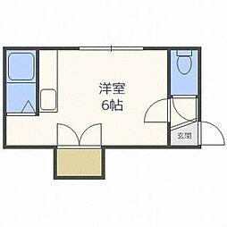 札幌市営東西線 菊水駅 徒歩7分の賃貸アパート 3階ワンルームの間取り