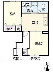 サンライトエクセルK[1階]の間取り