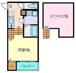 仮称)西中田2丁目(5) 2階1Kの間取り