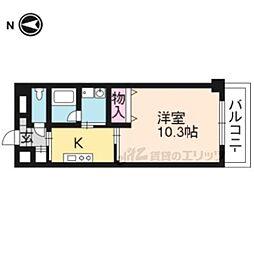 京都市営烏丸線 北山駅 徒歩25分の賃貸マンション 1階1Kの間取り