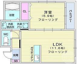 JR東北本線 南仙台駅 徒歩8分の賃貸マンション 3階1LDKの間取り