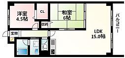 北大阪急行電鉄 緑地公園駅 徒歩1分の賃貸マンション 3階2LDKの間取り