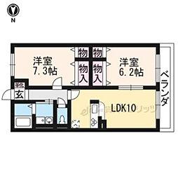 近鉄京都線 大久保駅 徒歩19分の賃貸アパート 2階2LDKの間取り