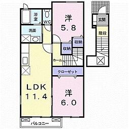 西鉄天神大牟田線 三沢駅 徒歩11分の賃貸アパート 2階2LDKの間取り