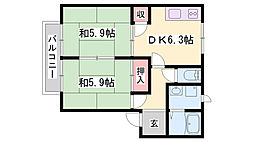 JR加古川線 新西脇駅 バス30分 鍛冶屋バス下車 徒歩15分の賃貸アパート 1階2DKの間取り