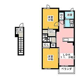 フィオーレ・タチバナA 2階2LDKの間取り