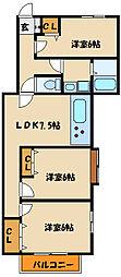 ルピナス1番館[2階]の間取り