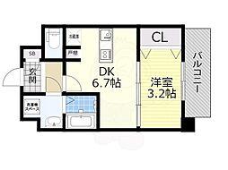 SOAR SHINNAGATA 9階1DKの間取り