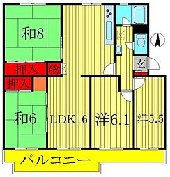 江戸川台ハイツB棟[305号室]の間取り