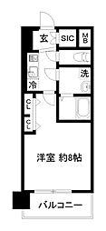 エステムコート京都西大路 3階1Kの間取り