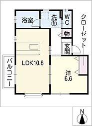愛知県名古屋市西区名塚町3の賃貸アパートの間取り